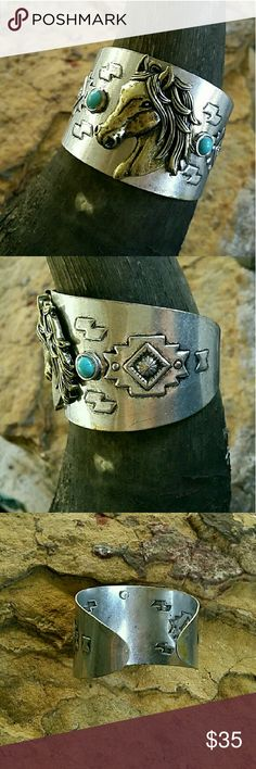 """Horse Cuff Bracelet Gold tone Horse on on this Aztec Southwestern stamped silver tone bracelet, accented with a faux turquise on each side. 1 3/4"""" wide. Boutique  Jewelry Bracelets"""
