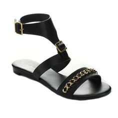 You will have unmatched style with these flat sandals. Featuring faux leather upper, open toe, gold-tone chain detail on front band, ankle strap with adjustable buckle closures, low flat heel, and finished with cushioned insole.