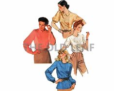 Sewing Pattern for 70s Blouse, Tuck Front & Button Back, Simplicity 9266 #ButtonBack #TuckTrim #70sFashion #1970sShirts #TheOldLeaf #PlusSizeSewing #VintageBlouses