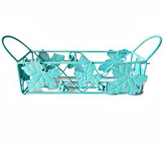 Vintage Iron Basket Grape Vines Aqua Approximate measurements: from handle to handle - 14 inches by 3.75 inches by 5.75 inches. Circa - 1960s Hallmark - unsigned Materials - metal Condition - re-painted Indoor or outdoor garden and patio decor. This vintage mid century cottage chic iron basket has grape leaves and grapes and handles Matching vintage shelf: https://www.etsy.com/listing/235014856/iron-lattice-shelf-towel-bar-grape-vines?ref=shop_home_active_1 My Et...