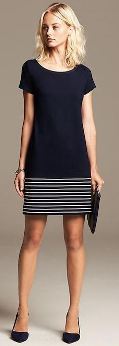 Short-sleeved navy shift dress with white stripes