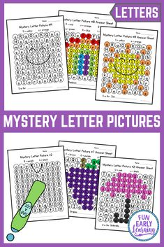 Mystery Letter Pictures Alphabet Activity for Preschool and Kindergarten Fun Mystery Letter Pictures Alphabet Activity! Great printable for preschool, kindergarten and first grade! Perfect for teaching letter identification and writing. Letter T Activities, Handwriting Activities, Letter Identification Activities, Letter Games, Alphabet Games, Literacy Stations, Winter Activities, Teaching Resources, Alphabet