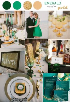 2014 trending vintage emerald and gold champagne wedding color ideas and invitations #elegantweddinginvites
