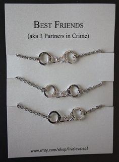 3 Partners in crime matching Best Friends Bracelets - Silver Handcuffs Bracelet, handcuffs charm bracelet, bracelet handchain BFF jewelry on Etsy, $39.00