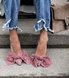 jeffrey campbell bow pumps | raw edge jeans | gucci bag