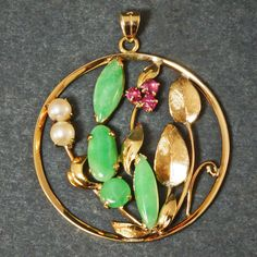 Solid 14K Yellow Gold, Apple Jade, Ruby & Pearl, Estate, Floral Motif Pendant #Pendant