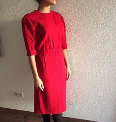 28,-Rotes Vintage Retro Midi Kleid Maxikleid mit Gürtel - kleiderkreisel.at