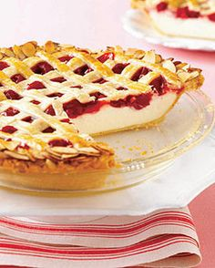 Cherry Cheesecake Pie- My MIL LOVES cheesecake yet this has the look of an old-fashioned cherry pie. GREAT for the par-taaay!