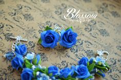 Blue roses jewelry set Navy flowers bracelet Royal blue rose