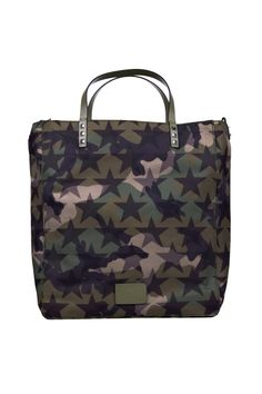 Valentino Garavani camouflage star print bag with two top leather handles, leather logo on the front and rockstud aplication on the handle