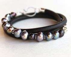 Pearl Leather Bracelet - artisan style leather and freshwater pearl multiwrap