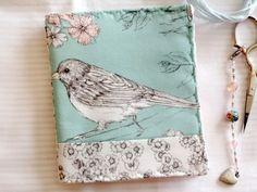 Bird Needlebook Pen and Ink Drawing Fabric Robin Egg Blue | countrygarden - Needlecraft on ArtFire