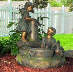 Water Pump Fountain LED Lights Outdoor Garden Fixture Country Children Ducks New
