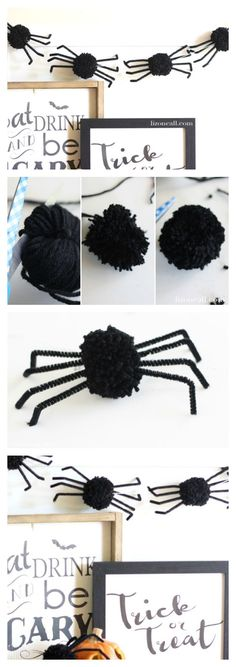 The best DIY projects & DIY ideas and tutorials: sewing, paper craft, DIY. Best Diy Crafts Ideas For Your Home Halloween Spider Garland Fun Halloween Crafts, Halloween Spider, Holidays Halloween, Vintage Halloween, Fall Crafts, Halloween Decorations, Halloween Party, Crafts For Kids, Diy Crafts