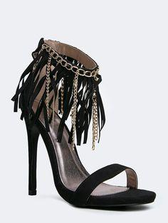 2d2541abcf81 Black Suede Chain Fringe Strappy Sandal