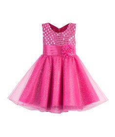 Look what I found on #zulily! Fuchsia Flower Sequin Dress - Toddler & Girls by Heart to Heart #zulilyfinds