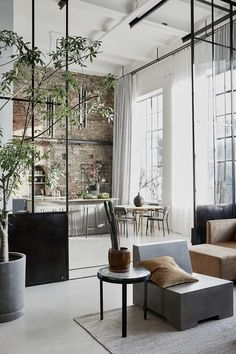 A Bright Industrial Loft Decorated With House Doctor's Spring/Summer Collection - The Nordroom House Doctor, Dream House Interior, Interior Design Living Room, Modern Loft, Mid-century Modern, New Yorker Loft, Scandinavian Loft, Architecture Design, Loft Industrial