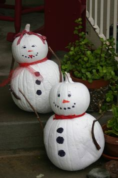 Snow People, Thom and Vicki - every year I repurpose my Autumn porch pumkins to spend Christmas with us as happy snow people.