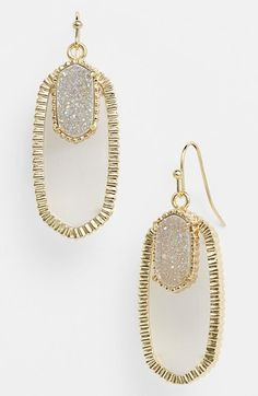 Kendra Scott 'Dayton' Oval Stone & Drusy Drop Earrings | Nordstrom