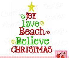 BEACH BELIEVE CHRISTMAS Christmas Filled Stitches Embroidery design CH0031 -5x7 6x10 inch -Christmas Machine Embroidery Applique Design by CherryStitchDesign on Etsy
