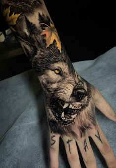 50 of the most beautiful wolf tattoo designs the internet has ever seen - aweso . - 50 of the most beautiful wolf tattoo designs the internet has ever seen – aweso … – 50 of the - Wolf Tattoo Design, Tattoo Designs, Tattoo Ideas, Wolf Tattoos Men, Hand Tattoos For Women, Mens Hand Tattoos, Wolf Tattoo Sleeve, Sleeve Tattoos, Tattoo Wolf