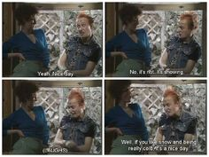 Vyvyan trying to make small talk with his neighbour so he can borrow another cup of sugar to put on the fire!