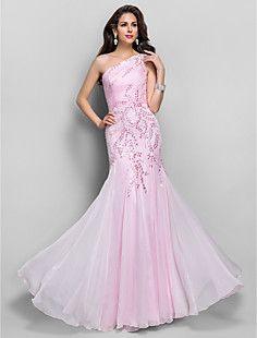 トランペット/マーメイドワンショルダー床の長さのシフォンのイブニングドレスをビーズ – JPY ¥ 32,218