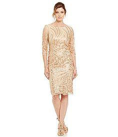 Brianna Embroidered Sequin Lace Dress #Dillards