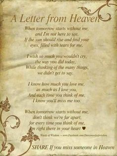 A Letter from Heaven - Missing my Mom and Dad ♥
