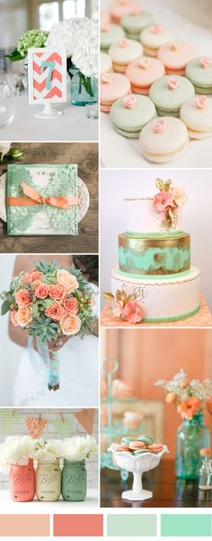 top 8 most elegant wedding color palettes for and peach wedding table numbers wedding dessert wedding invitations wedding cakes wedding bouquest Elegant Wedding Colors, Coral Wedding Flowers, Wedding Mint Green, Spring Wedding Flowers, Elegant Wedding Cakes, Dessert Wedding, Wedding Summer, Trendy Wedding, Wedding Bouquets