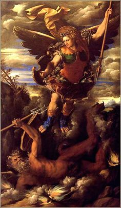 """Michael Triumphant"""" by Dosso Dossi, ca. Michael's victory over the dragon in Revelation is closely tied to Isaiah's prophecy in Isaiah Isaiah Prophecy, Michael And Lucifer, Rennaissance Art, Crying Angel, San Michele, Morning Devotion, Revelation 12, Beautiful Nature Pictures, Saint Michael"""