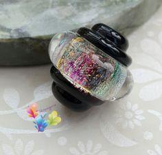 Lampwork Bead Black Ice Rainbow Ornate Focal