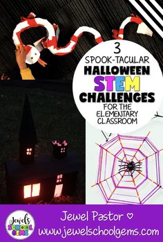 3 SPOOK-TACULAR HALLOWEEN STEM CHALLENGES FOR THE ELEMENTARY CLASSROOM by Jewel's School Gems | This blog post features three spook-tacular Halloween STEM activities that you can do with your class. I promise these are so much fun, your kids won't even miss the sweets! Get your students designing and building a haunted house, a snake roller coaster, or a spider web. Click to read TODAY