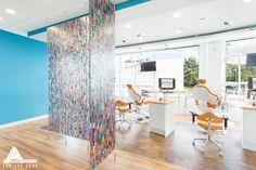 Fun Confetti 3Form Dividers. Dental Office Design by Arminco Inc.