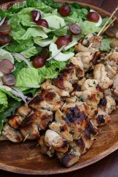 Buttermilk Chicken Kebabs w/ Chopped Salad | www.girlichef.com