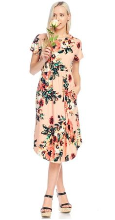 This short sleeve flowy dress is a dream. The blush color accentuates the colored flowers perfectly. The empire waist band for a super flattering look.  | Shop this product here: http://spreesy.com/Vellalane/73 | Shop all of our products at http://spreesy.com/Vellalane    | Pinterest selling powered by Spreesy.com