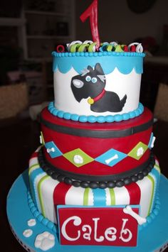 dog themed cake. Love the color combo