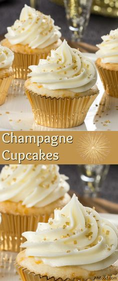 A hint of bubbly in the batter and the frosting makes these Champagne Cupcakes truly New Year's Eve-worthy! These sparkly cupcakes are fun, festive, and perfect for any special occasion.