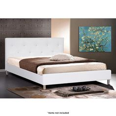 Barbara Modern Queen Bed with Button-Tufted Headboard - Black or White at 50% Savings off Retail!