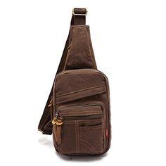 067c6964a588 Ibagbar Small Vintage Military Canvas Chest Sling Pack Shoulder Backpack  Crossbody Bag Outdoor Sport Shoulder Travel