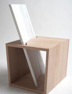 Para que el Benchina tenga un respaldo cómodo, Egle Kirdulyte lo ha curvado un poco, colocándolo perpendicular a la madera, para poder sentarse cómodamente. Debajo del asiento hay un espacio de almacenaje.