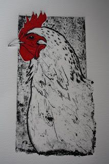 Chicken collagraph by Sue Brown. http://suebrownprintmaker.blogspot.co.uk/ Tags: Birds, Beaks