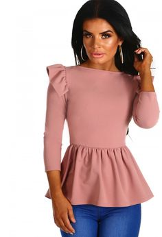 Stand Down Rose Pink Frill Peplum Top | Pink Boutique