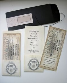 train ticket invites vintage
