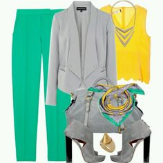 Dove-grey anchors bright, cheerful colors.