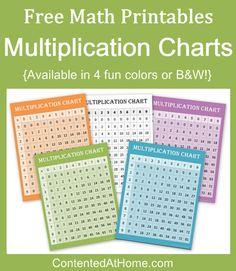 Free Math Printables: Multiplication Charts