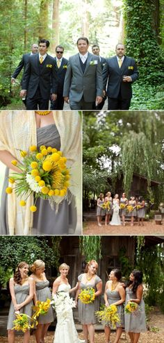 gray and yellow wedding I like the different shades of gray for the bridal party