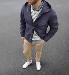 Today outfit of thepacman: Rainy day nautical vibes. Rain Coat: @shockoe_atelier Italian slubby linen/cotton Chinos/Shirt: @jcrew Pullover: @humanscales Shoes: @converse Jack Purcell