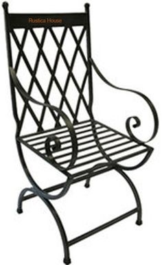 "A victorian forged iron chair for veranda, rustic patio and garden. It is handmade in black iron, rusted and natural finishing. Forged Iron Chair ""Victorian"" by Rustica House. Wrought Iron Decor, Wrought Iron Patio Chairs, Metal Chairs, Shabby Chic Table And Chairs, White Dining Chairs, Small Chairs, Iron Patio Furniture, Metal Furniture, Diy Furniture"