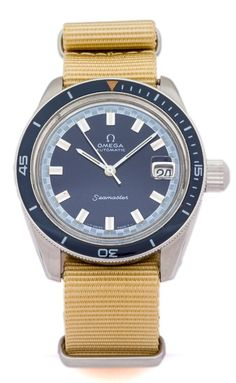 OMEGA Seamaster, Ref. Blue Dial, Big Crown, No.: Stainless Steel with blue rotating Vintage Omega, Vintage Rolex, Vintage Watches, Sport Watches, Cool Watches, Watches For Men, Wrist Watches, Luxury Watches, Rolex Watches